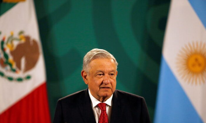 Mexican President Andrés Manuel López Obrador gives his daily, morning press conference at the National Palace in Mexico City on Tuesday, Feb. 23, 2021. (Marco Ugarte/AP Photo)