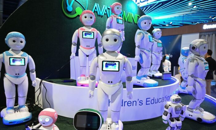 iPal smart AI for robots for children's education are displayed at the AvatarMind booth at the CES 2019 consumer electronics show at the Las Vegas Convention Center in Las Vegas, Nevada, on Jan. 8, 2019. (Robyn Beck/AFP via Getty Images)