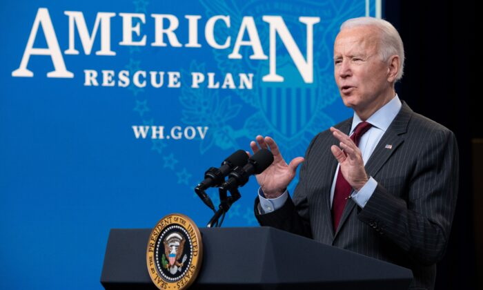 President Joe Biden speaks about the American Rescue Plan and the Paycheck Protection Program (PPP) for small businesses in response to coronavirus in the Eisenhower Executive Office Building in Washington, D.C., on Feb. 22, 2021. (Saul Loeb/AFP via Getty Images)