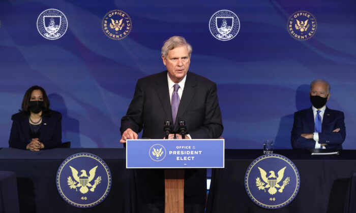 Tom Vilsack, President Joe Biden's nominee to head the Department of Agriculture, delivers remarks at the Queen Theater in Wilmington, Del., on Dec. 11, 2020. (Chip Somodevilla/Getty Images)