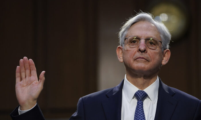 Attorney General nominee Merrick Garland is sworn-in during his confirmation hearing before the Senate Judiciary Committee in the Hart Senate Office Building in Washington, on Feb.22, 2021. (Drew Angerer/Getty Images)