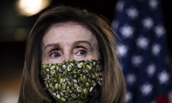Speaker of the House Nancy Pelosi (D-Calif.) speaks at a weekly news conference at the U.S. Capitol on Feb. 18, 2021. (Tasos Katopodis/Getty Images)