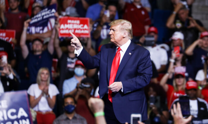 President Donald Trump is seen at a campaign rally in the BOK Center in Tulsa, Okla., on June 19, 2020. (Charlotte Cuthbertson/The Epoch Times)