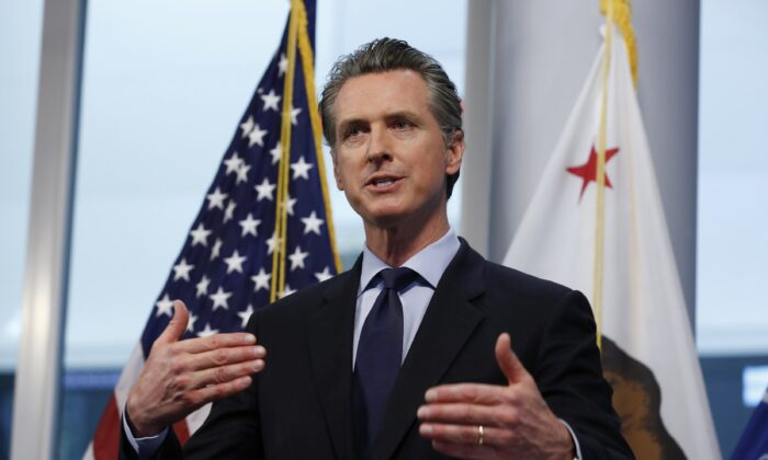 California Gov. Gavin Newsom gives a briefing at the Governor's Office of Emergency Services in Rancho Cordova, Calif., on April 9, 2020. (Rich Pedroncelli/AP Photo)