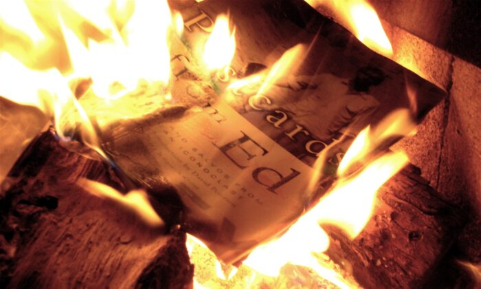Book burning. (Allan Levine via Wikimedia Commons/CC by 2.0)