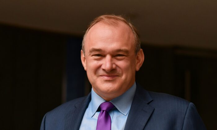 Ed Davey, leader of the Liberal Democrats, poses before members of the media in London on Aug. 27, 2020. (Justin Tallis/AFP via Getty Images)
