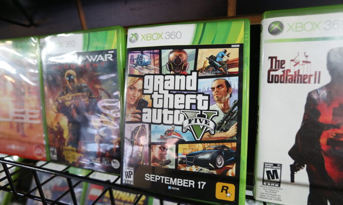 A display copy of Grand Theft Auto V (C) sits on a shelf at the a video games shop in New York City on Sept. 18, 2013. (Mario Tama/Getty Images)