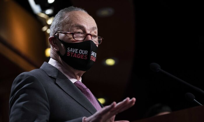 Senate Majority Leader Chuck Schumer (D-N.Y.) speaks during a news conference in Washington on Feb. 11, 2021. (Drew Angerer/Getty Images)