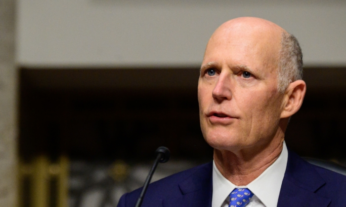 Sen. Rick Scott (R-Fla.) speaks in Washington on Feb. 23, 2021. (Erin Scott/POOL/AFP via Getty Images)
