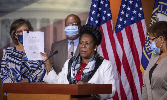Rep. Sheila Jackson Lee (D-Texas) speaks at a Congressional Black Caucus press conference on Capitol Hill in Washington on July 1, 2020. The CBC pushed for H.R. 40, also known as the Commission to Study and Develop Reparation Proposals for African-Americans Act was introduced in the U.S. House of Representatives on Jan. 3, 2019. (Tasos Katopodis/Getty Images)