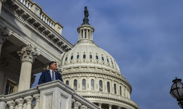 Rep. Andrew Clyde (R-Ga.) poses for a photo on the East Front of the Capitol in Washington on Jan. 4, 2021. (Tasos Katopodis/Getty Images)