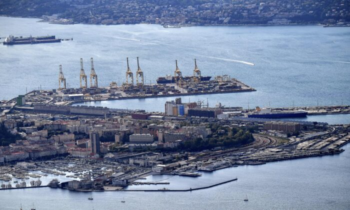 An aerial view of the commercial harbor of the northeastern Italian city of Trieste along the Adriatic Sea on Oct. 8, 2017. (Alberto Pizzoli/AFP via Getty Images)