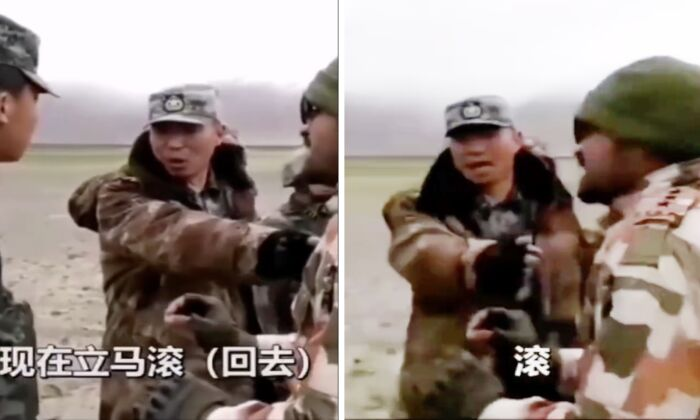 Chinese regiment commander Qi Fabao shouts to an Indian soldier who wants to negotiate with him at Galwan Valley, an India-China border region, in June 2020. (Screenshot/Weibo)