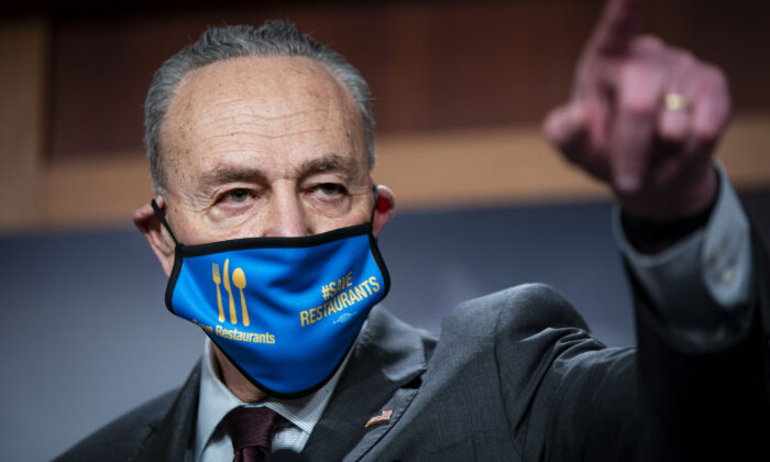 Senate Majority Leader Charles Schumer (D-N.Y.) speaks during a news conference following a virtual Senate Democratic policy luncheon, in the U.S. Capitol in Washington on Feb. 23, 2021. (Al Drago/Getty Images)