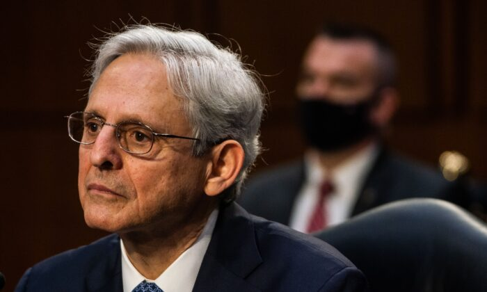 Judge Merrick Garland testifies before a Senate Judiciary Committee hearing on his nomination to be attorney general, on Capitol Hill in Washington on Feb. 22, 2021. (Demetrius Freeman/Pool/AFP via Getty Images)