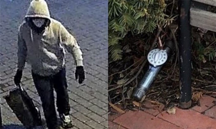 A suspect in the placement of two pipe bombs in Washington is seen on Jan. 5, 2021. On right is a closeup photograph of one of the bombs. (FBI)