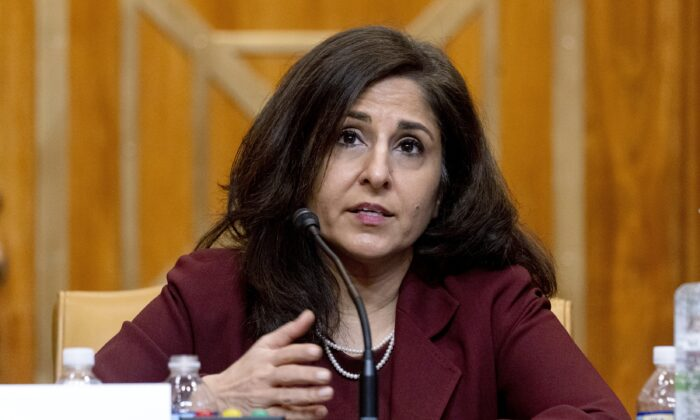 Neera Tanden, President Joe Biden's nominee for director of the Office of Management and Budget, testifies during a Senate Committee on the Budget hearing in Washington on Feb. 10, 2021. (Andrew Harnik/AP Photo)