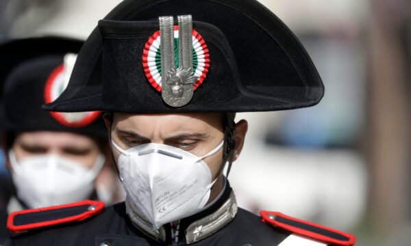 A Carabinieri officer attends the funeral of the Italian ambassador to the Democratic Republic of Congo