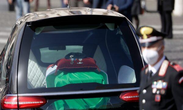 The casket of Italian Carabinieri police officer Vittorio Iacovacci