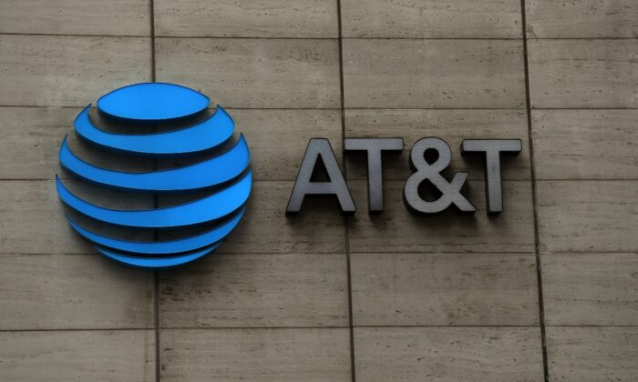 The logo of AT&T outside of AT&T corporate headquarters in Dallas, Texas on March 13, 2020. (Ronald Martinez/Getty Images)