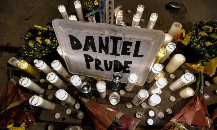 A makeshift memorial near the site where Daniel Prude was restrained by police officers is seen in Rochester, N.Y., on Sept. 2, 2020. (Adrian Kraus, File/AP Photo)