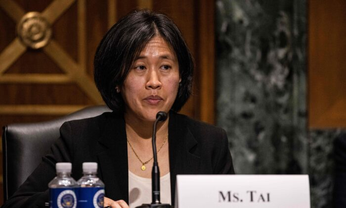 Katherine Tai, nominee for U.S. Trade Representative, testifies during the Senate Finance committee hearings to examine her nomination in Washington, on Feb. 25, 2021. (Tasos Katopodis /Pool/AFP via Getty Images)