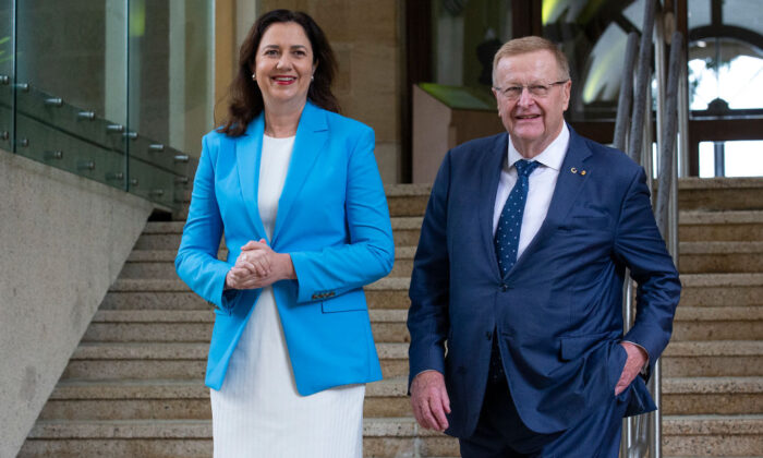 Qld Premier Annastacia Palaszczuk and President of the Australian Olympic Committee John Coates arrive to speak to the media during a press conference after the IOC announced targeted dialogue ahead of the 2032 Brisbane Olympic Games bid, at Queensland Parliament House on February 25, 2021 in Brisbane, Australia. (Jono Searle/Getty Images)
