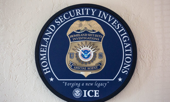ICE Homeland Security Investigations logo. (Samira Bouaou/The Epoch Times)