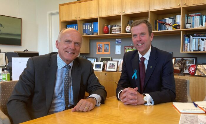 Senator Eric Abetz (L) meets with Trade Minister Dan Tehan (R) to discuss CANZUK in Parliament House in Canberra, Australia on Feb. 18, 2021. (Josh Byrne)