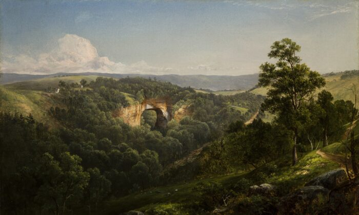 """A detail of """"Natural Bridge, Virginia,"""" 1860, by David Johnson. Oil on canvas.Winston-Salem, NC. Gift of Philip Hanes Jr., in honor of Charles H.Babcock, Sr., Reynolda House Museum of American Art. Reynolda House is an affiliateof Wake Forest University. (Courtesy of Reynolda House Museum ofAmerican Art)"""