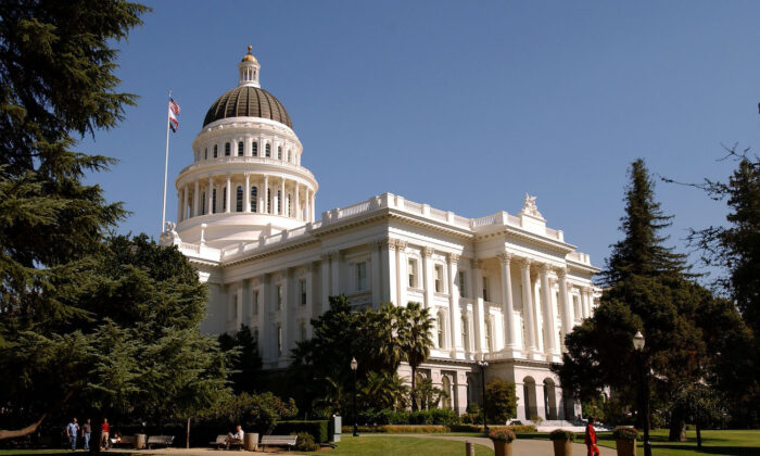 The California state Capitol building in downtown Sacramento, California on Oct. 9, 2003. (David Paul Morris/Getty Images)
