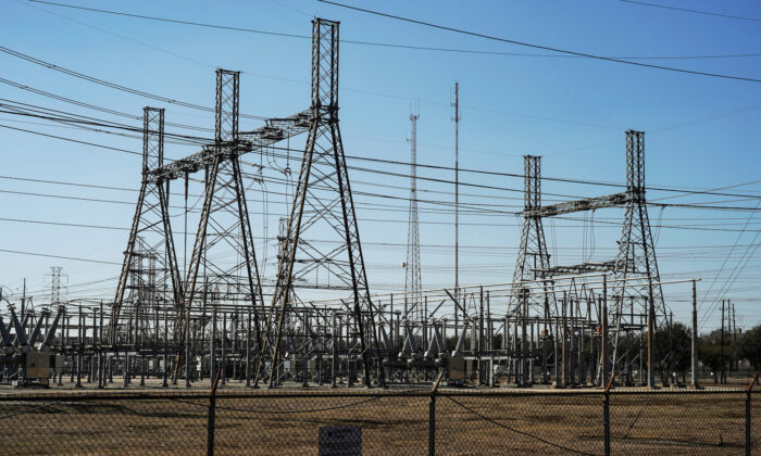 An electrical substation is seen after winter weather caused electricity blackouts in Houston, Texas on Feb. 20, 2021. (Go Nakamura/File Photo via Reuters)