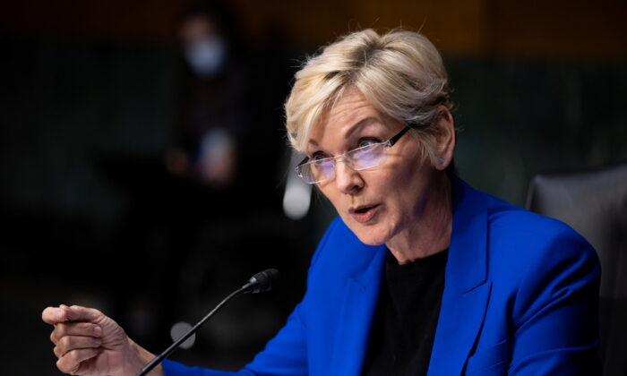 Former Michigan Gov. Jennifer Granholm testifies before the Senate Energy and Natural Resources Committee during a hearing to examine her nomination to be secretary of Energy, on Capitol Hill in Washington on Jan. 27, 2021. (Graeme Jennings/Pool via Reuters)