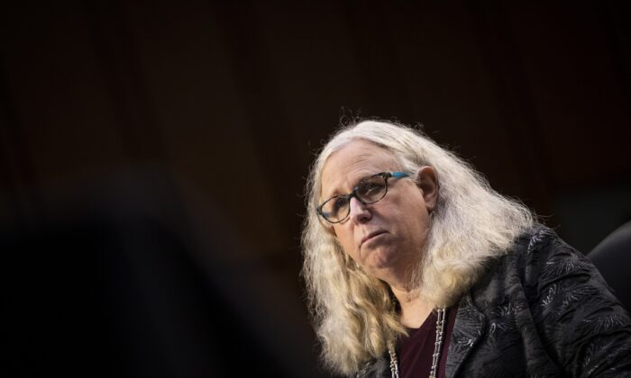 Rachel Levine, nominee for assistant secretary in the Department of Health and Human Services, testifies during a Senate hearing in Washington on Feb. 25, 2021. (Caroline Brehman/Pool/Getty Images)
