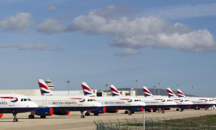 British Airways passenger planes are parked at Palma de Mallorca airport, Spain, on Jan. 21, 2021. (Jaime Reina/AFP via Getty Images)