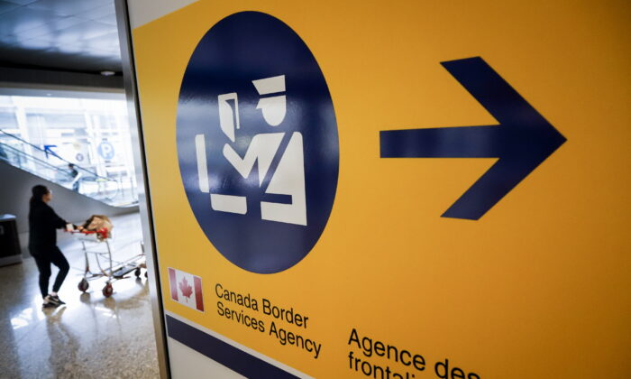 A Canada Border Services Agency (CBSA) sign is seen in Calgary, Canada, on Aug. 1, 2019. (Jeff McIntosh/The Canadian Press)