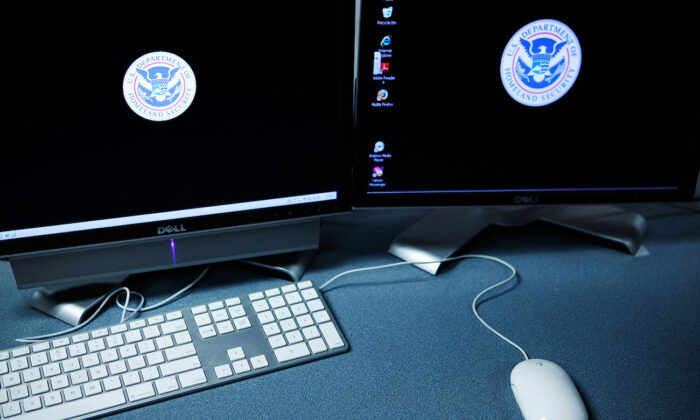 The logos of the U.S. Department of Homeland Security are seen on computer terminals of the Cyber Crimes Center of the U.S. Immigration and Customs Enforcement in Fairfax, Virginia, on Oct. 13, 2009. (Alex Wong/Getty Images)