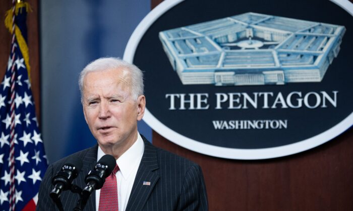U.S. President Joe Biden speaks during a visit to the Pentagon in Washington, on Feb. 10, 2021. (Saul Loeb/AFP via Getty Images)