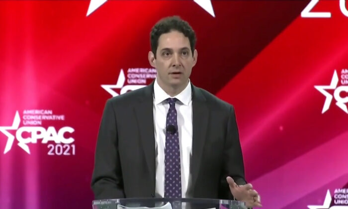 Alex Berenson speaks on censorship, freedom of speech, at the Conservative Political Action Conference at the Hyatt Regency in Orlando, Fla., on Feb. 26, 2021. (CPAC/Screenshot via NTD)