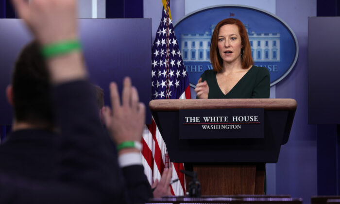 White House Press Secretary Jen Psaki speaks during a news briefing at the White House in Washington, on Feb. 25, 2021. (Alex Wong/Getty Images)