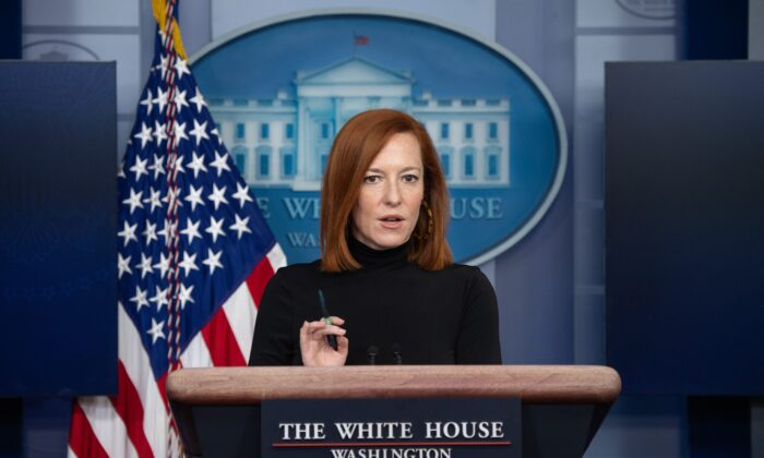 White House press secretary Jen Psaki holds the daily press briefing in the Brady Press Briefing Room of the White House in Washington on Feb. 3, 2021. (Saul Loeb/AFP via Getty Images)