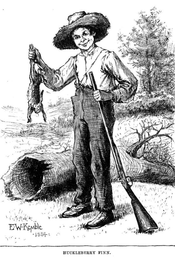 Huckleberry-finn-with-rabbit-first edition