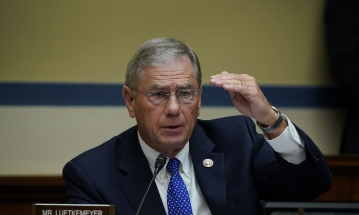 Rep. Blaine Luetkemeyer questions US Secretary of Health and Human Services Alex Azar as he testifies before the House Select Subcommittee on the Coronavirus Crisis, on Capitol Hill in Washington on Oct. 2, 2020. (J. Scott Applewhite/POOL/AFP via Getty Images)
