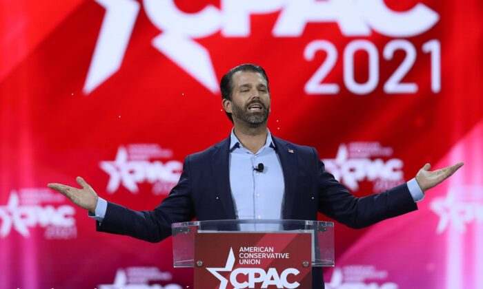 Donald Trump, Jr. addresses the Conservative Political Action Conference being held in the Hyatt Regency in Orlando, Fla., on Feb. 26, 2021. (Joe Raedle/Getty Images)