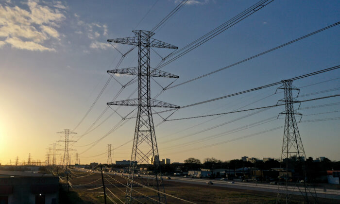 A view of high voltage transmission towers on Feb. 21, 2021, in Houston, Texas. (Justin Sullivan/Getty Images)