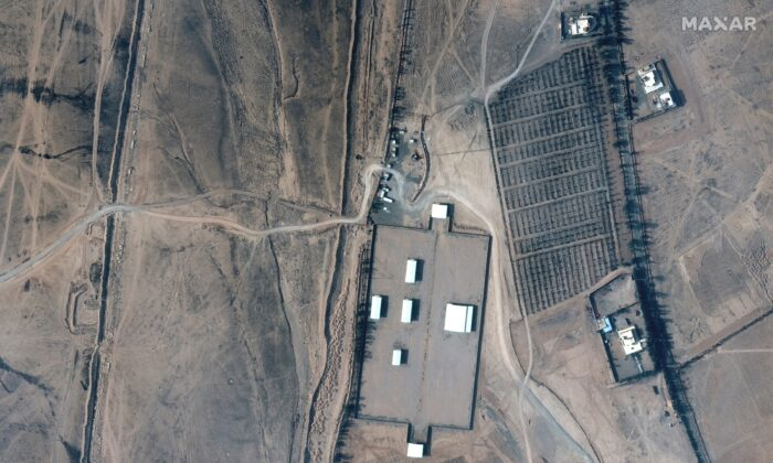 A closer view of an Iraq-Syria border crossing and buildings before airstrikes, on Feb. 3, 2021. (Satellite image (copyright) 2021 Maxar Technologies/Handout via Reuters)