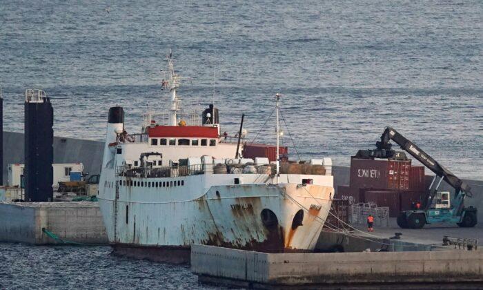 "Livestockship""Karim Allah"" carrying nearly 1,000Spanishcattlestranded on theshipwith suspected bluetongue disease is docked at Escombreras port in Cartagena, Spain, on Feb. 26, 2021. (Juan Medina/Reuters)"