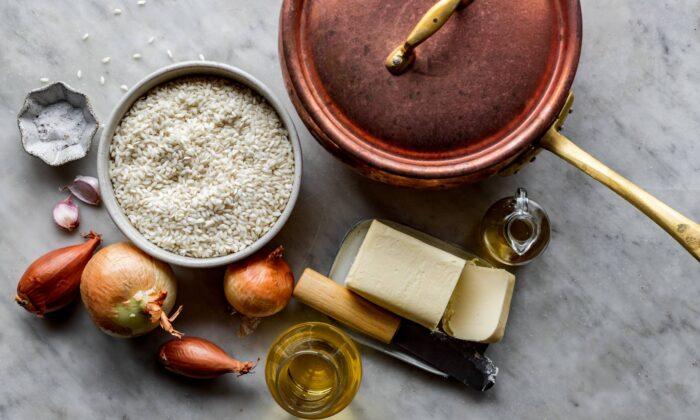 Some essential risotto ingredients: rice, fat, and aromatics. (Giulia Scarpaleggia)