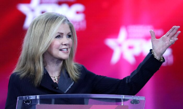 Sen. Marsha Blackburn (R-Tenn.) addresses the Conservative Political Action Conference being held in the Hyatt Regency in Orlando, Fla., on Feb. 26, 2021. (Joe Raedle/Getty Images)