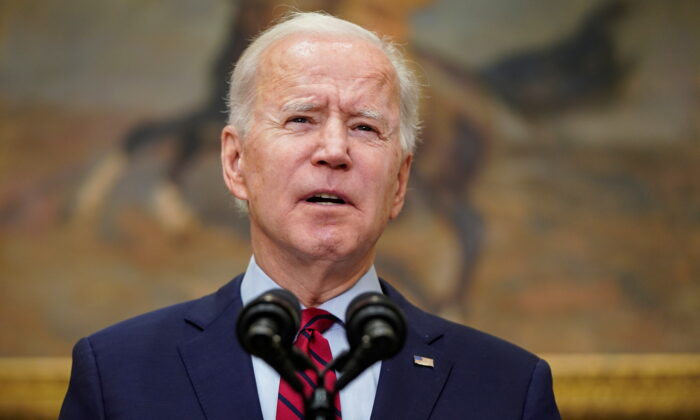 President Joe Biden speaks after the House of Representatives passed his $1.9 trillion coronavirus relief package in the Roosevelt Room of the White House in Washington on Feb. 27, 2021. (Joshua Roberts/Reuters)